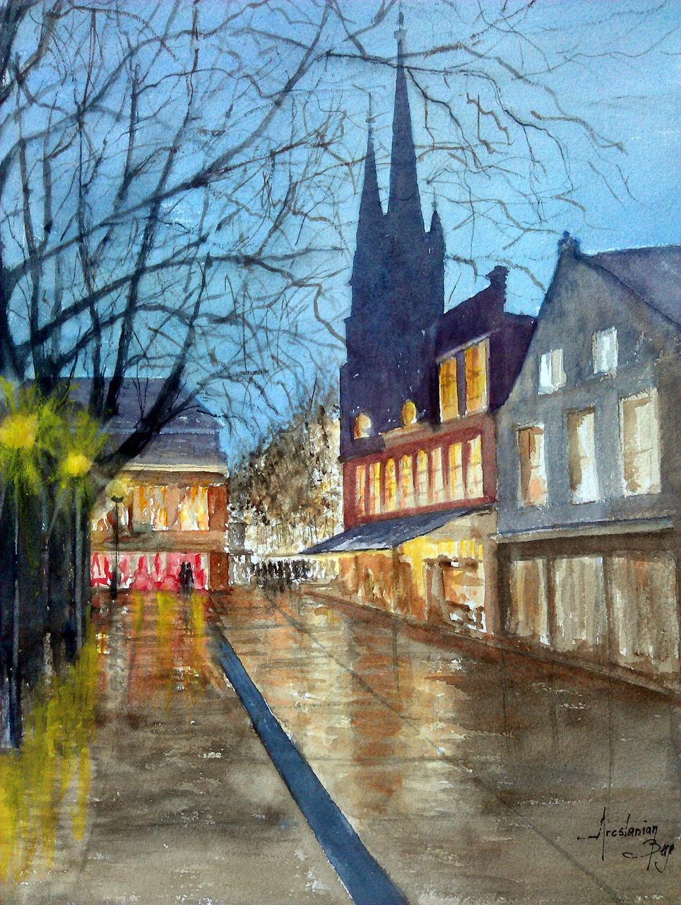 ARESLANIAN Berge Square sous la pluie - Delft - Pays Bas