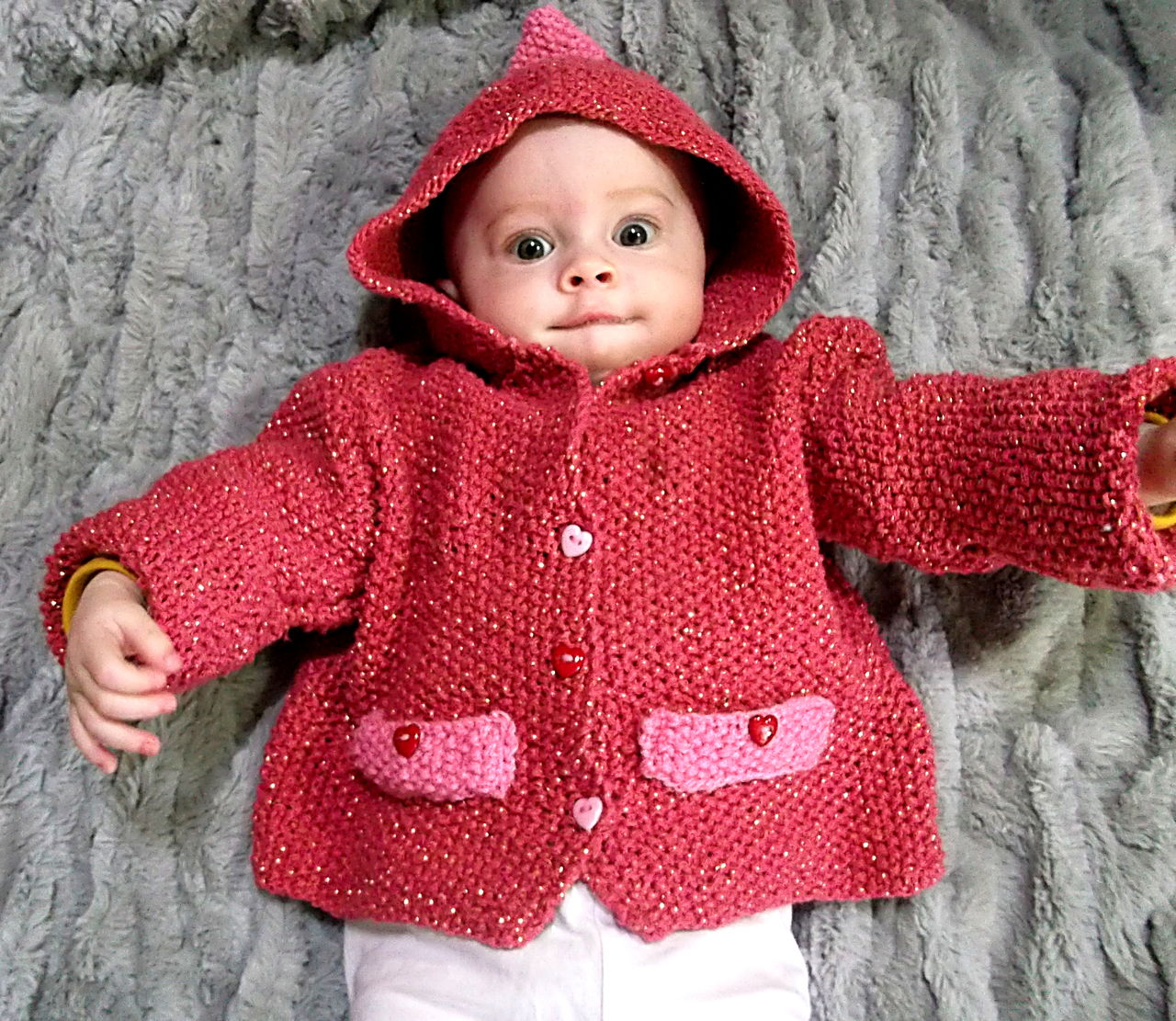 BabyCaprice Gilet chaperon rouge 1ans