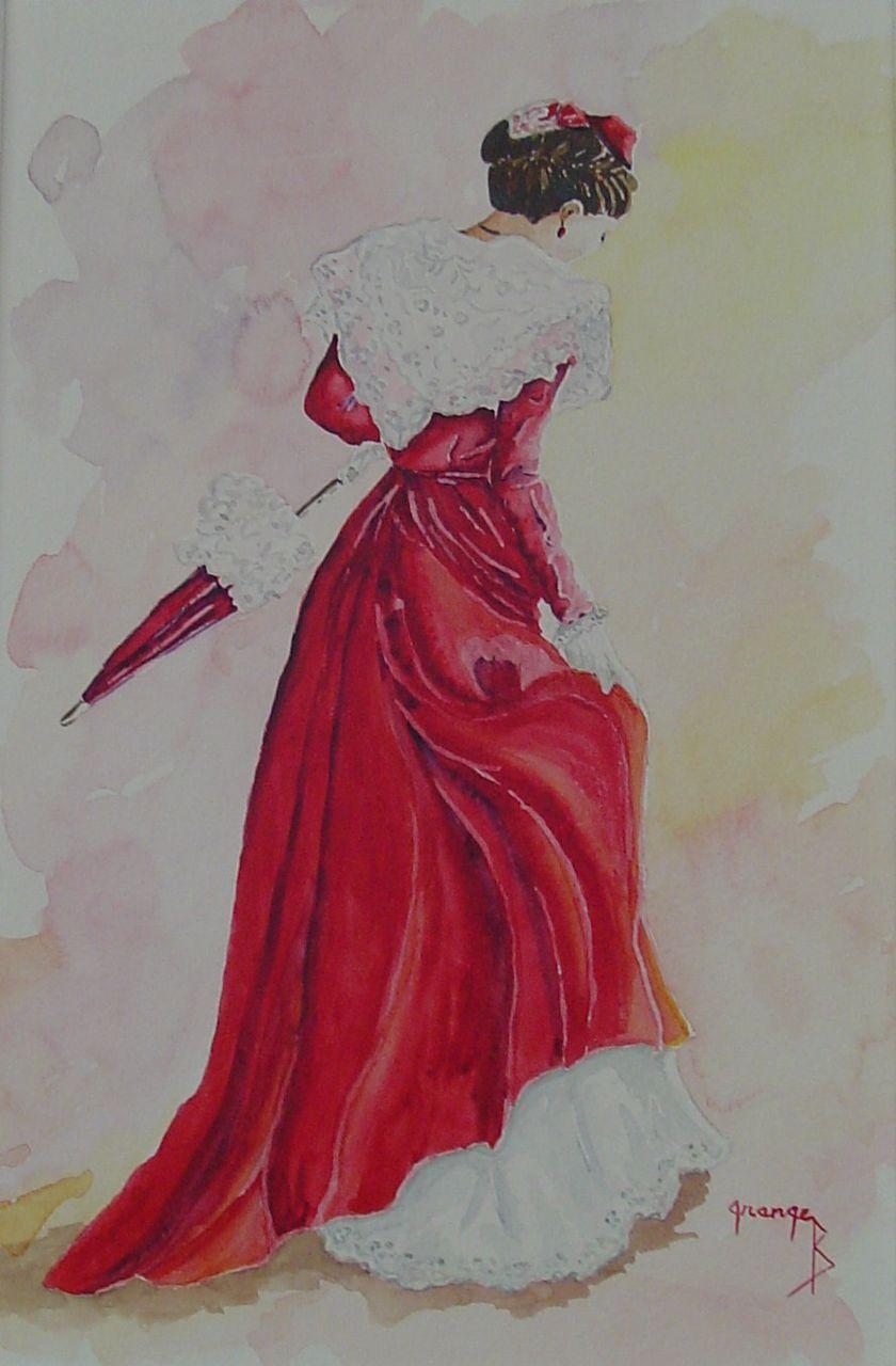 Brigitte  Grange Arlésienne à l'ombrelle
