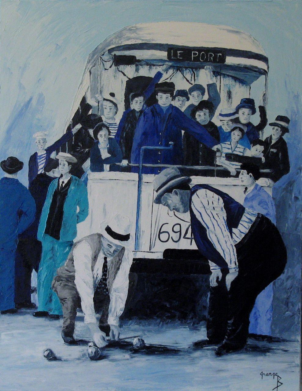 Brigitte  Grange Tableau de Provence - Blues pétanque