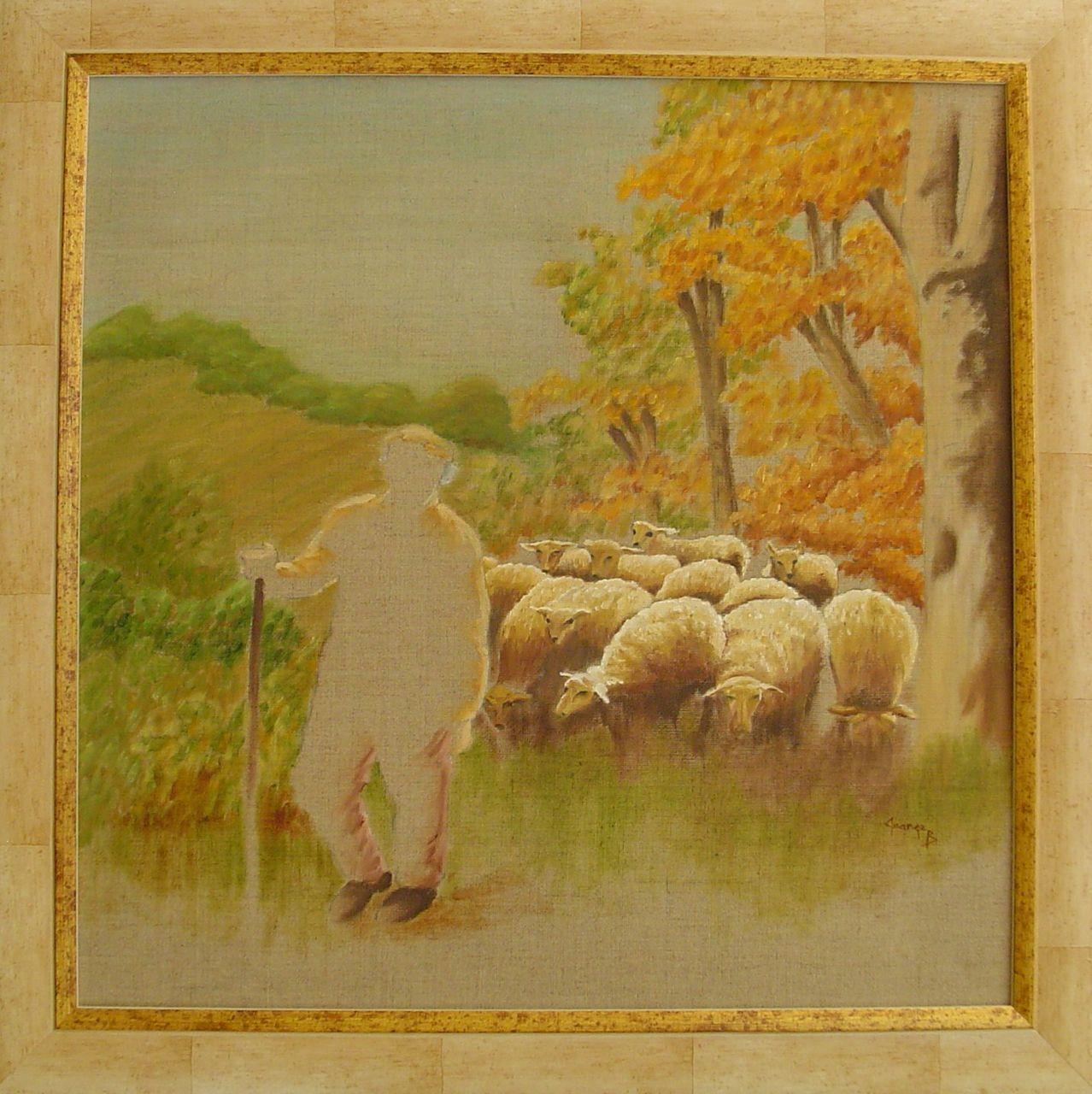 Brigitte  Grange Moutons et berger