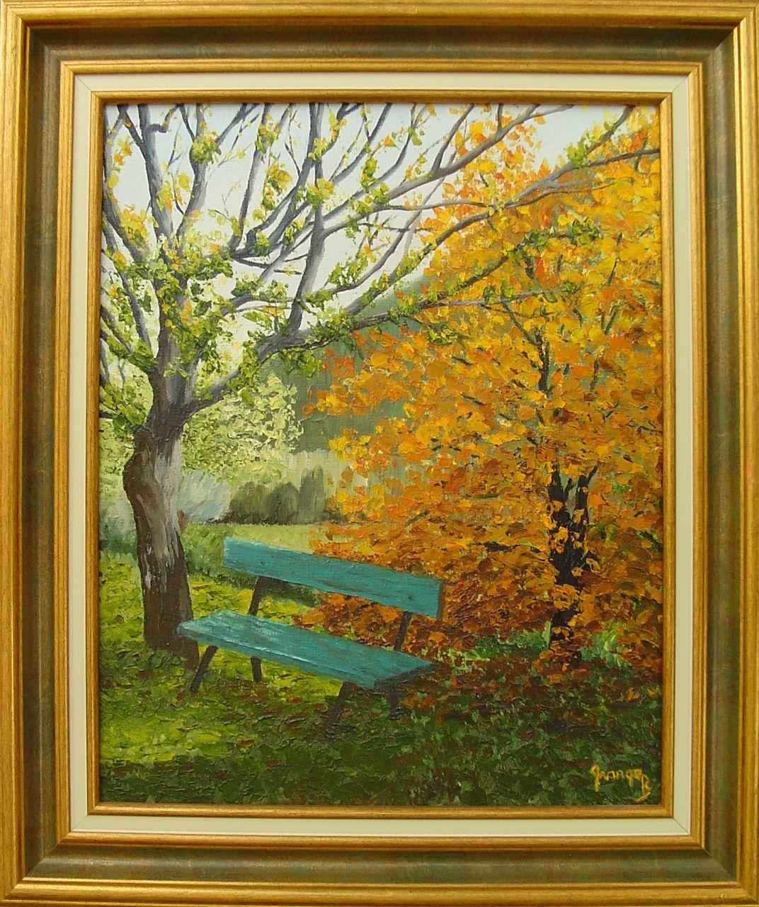 Brigitte  Grange Un banc en automne
