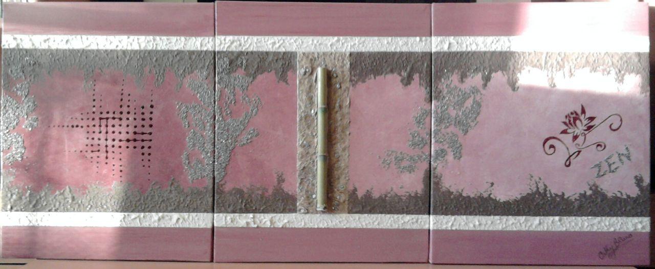 BRUNO Cathy Triptyque Zen rose