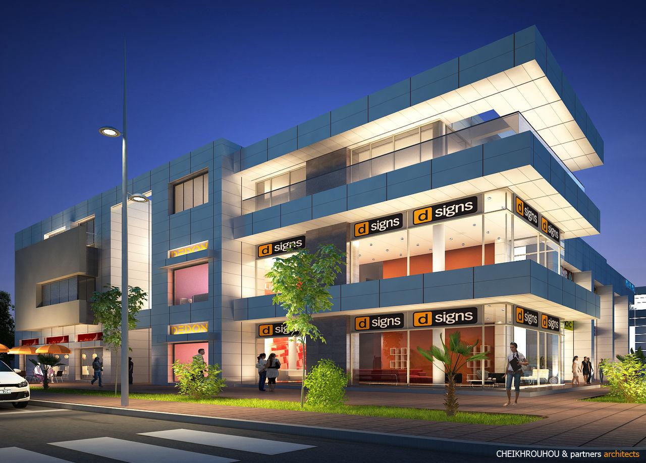 Cheikhrouhou & partners Architects vue de nuit MARSA MALL