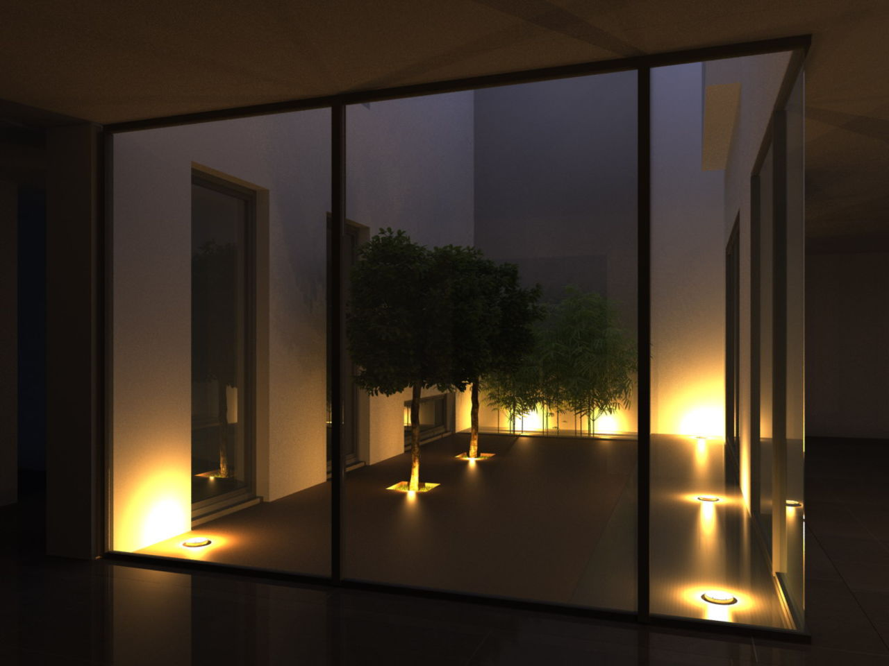 "Cheikhrouhou & partners Architects ""The patio"" by night Villa Mies et moi"