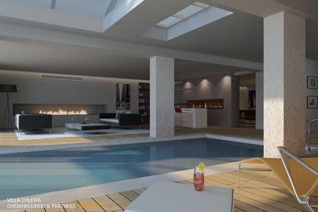 Cheikhrouhou & partners Architects VILLA C vue piscine couverte