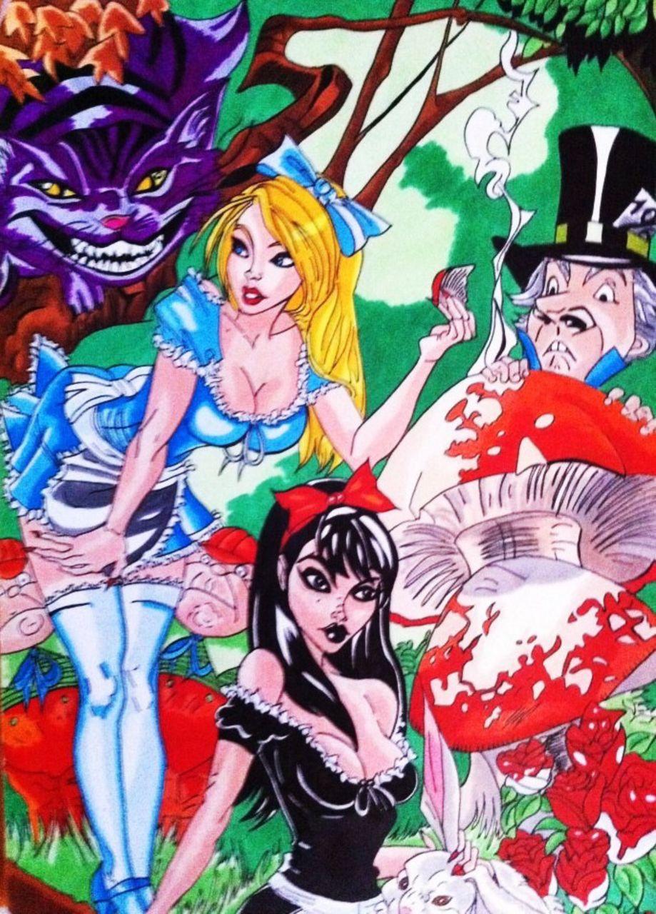 Crombois fan art J.SCOTT CAMPBELL alice aux pays des merveilles