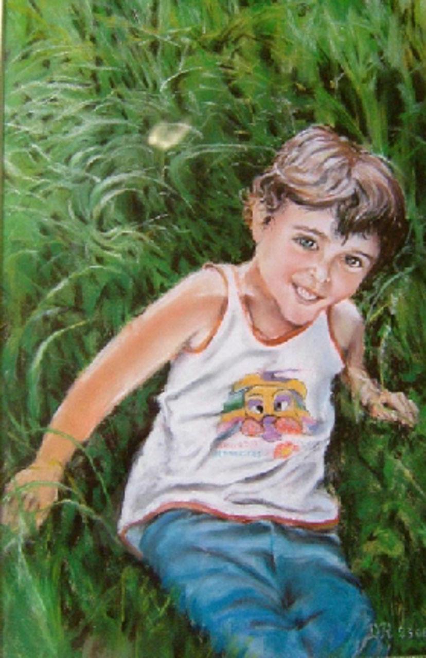 Daniel Riba Gaby heureux dans l'herbe