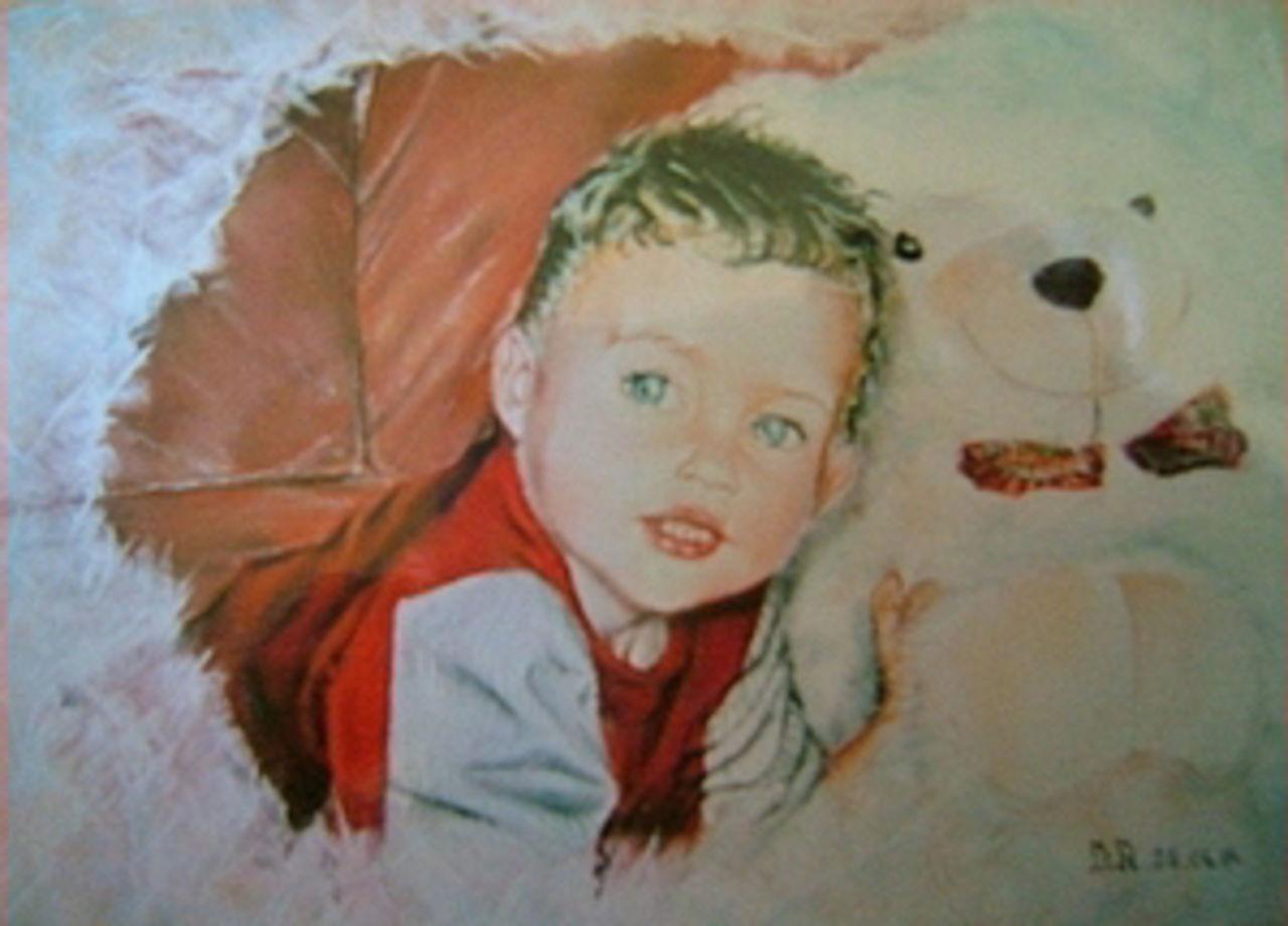 Daniel Riba l'enfant et l'ours en peluge