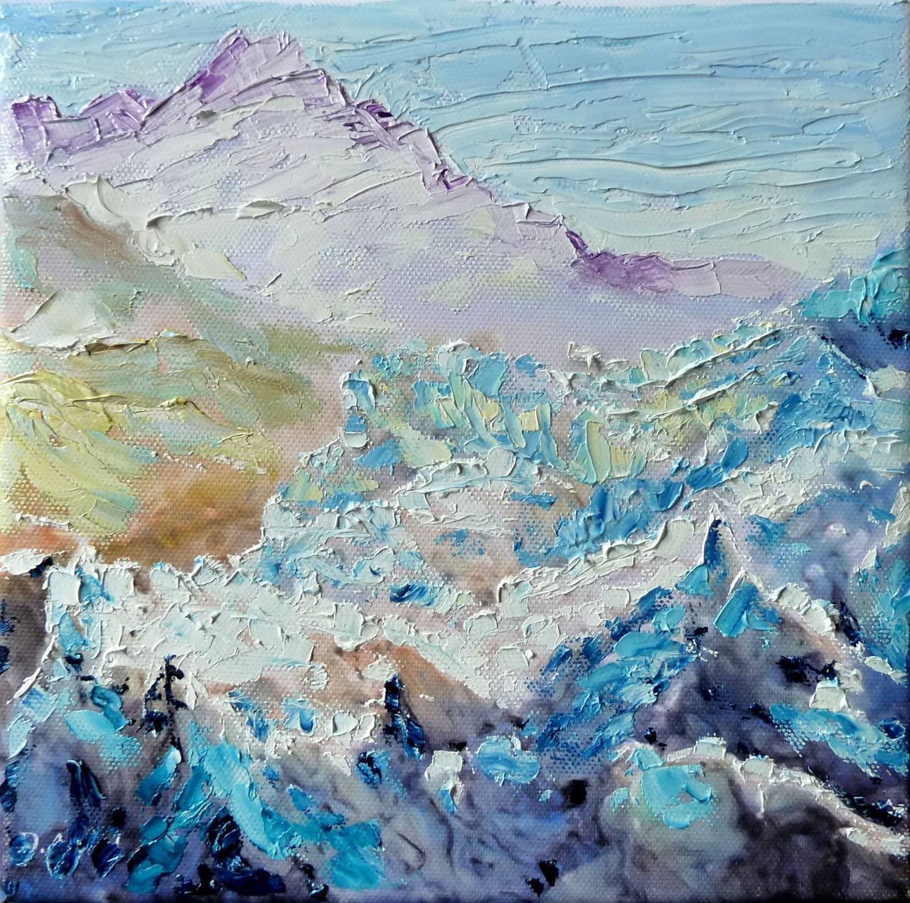 Danielle Arnal glacier d'Argentière à l'huile sur toile 20x20cm au couteau