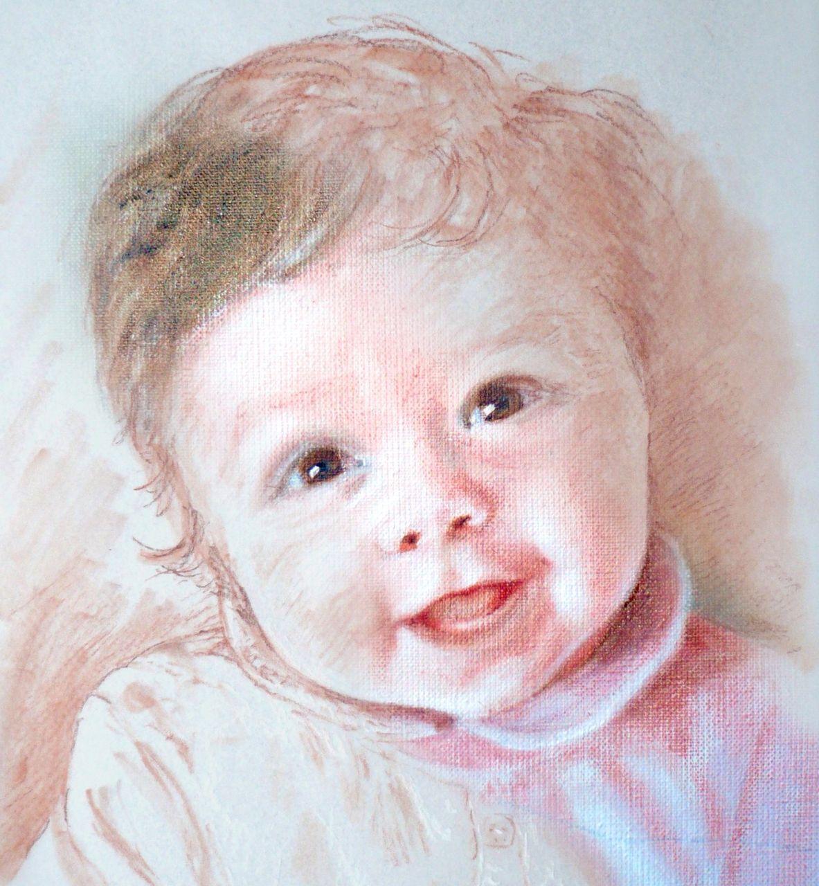 Danielle Arnal Chloé bébé huile et sanguine