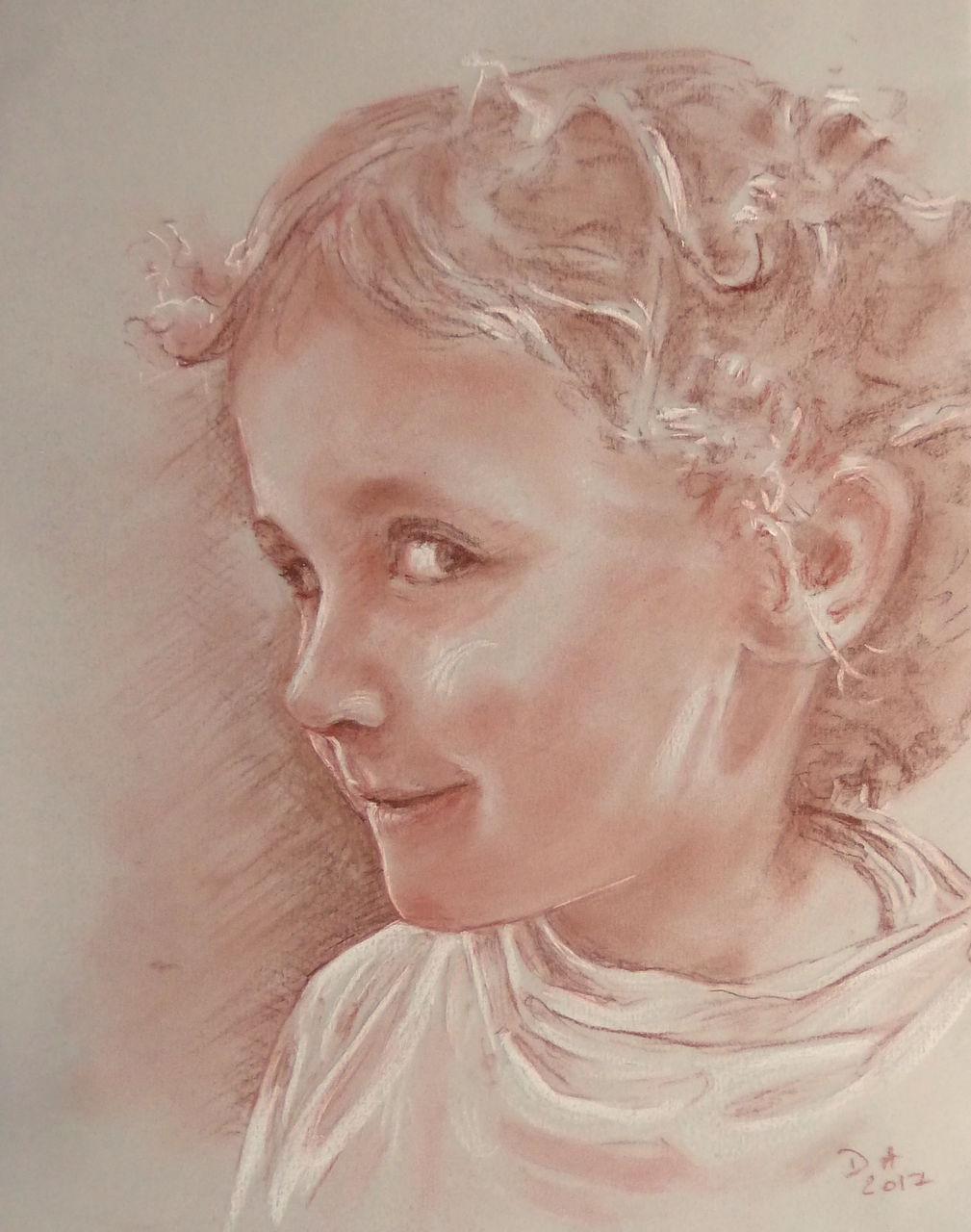 Danielle Arnal portrait à la sanguine