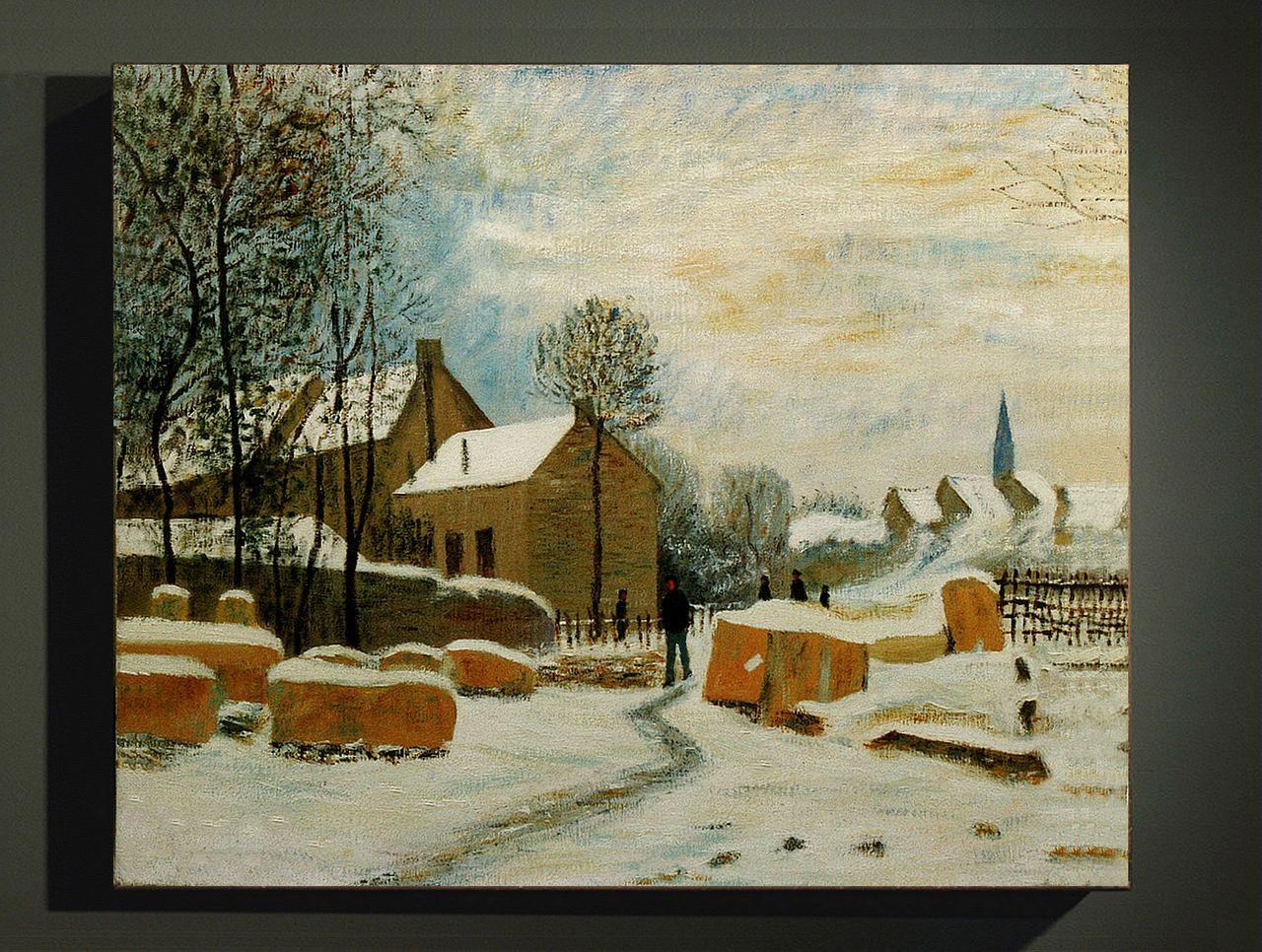 Dominique Imbert copie d'un Monet,. Village sous la neige