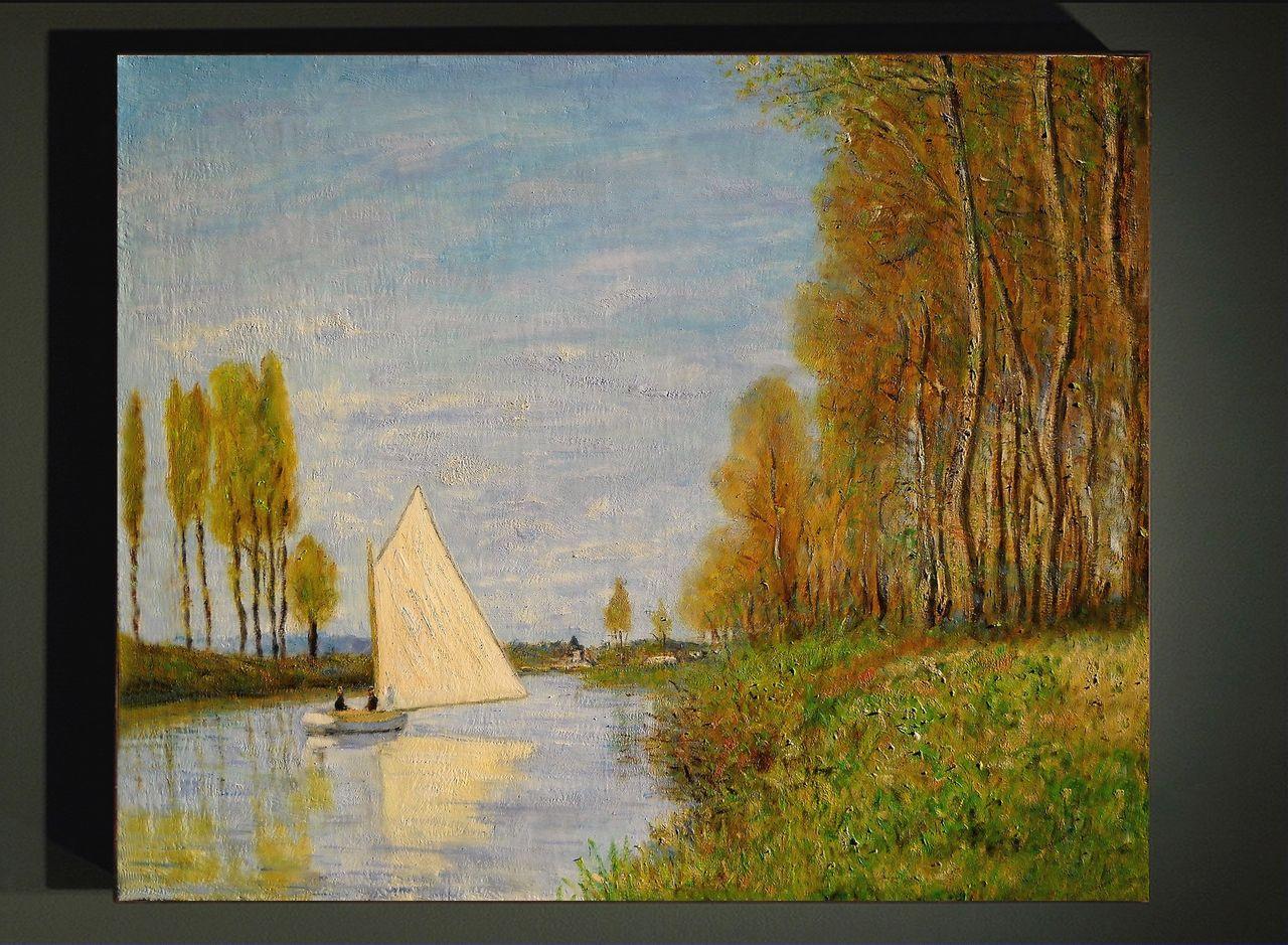 Dominique Imbert copie d'un Monet, voilier sur la Seine. 'Small Boat on the Small Branch of the Seine at Argenteuil'