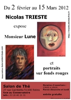Monsieur Lune et portraits sur fonds rouges