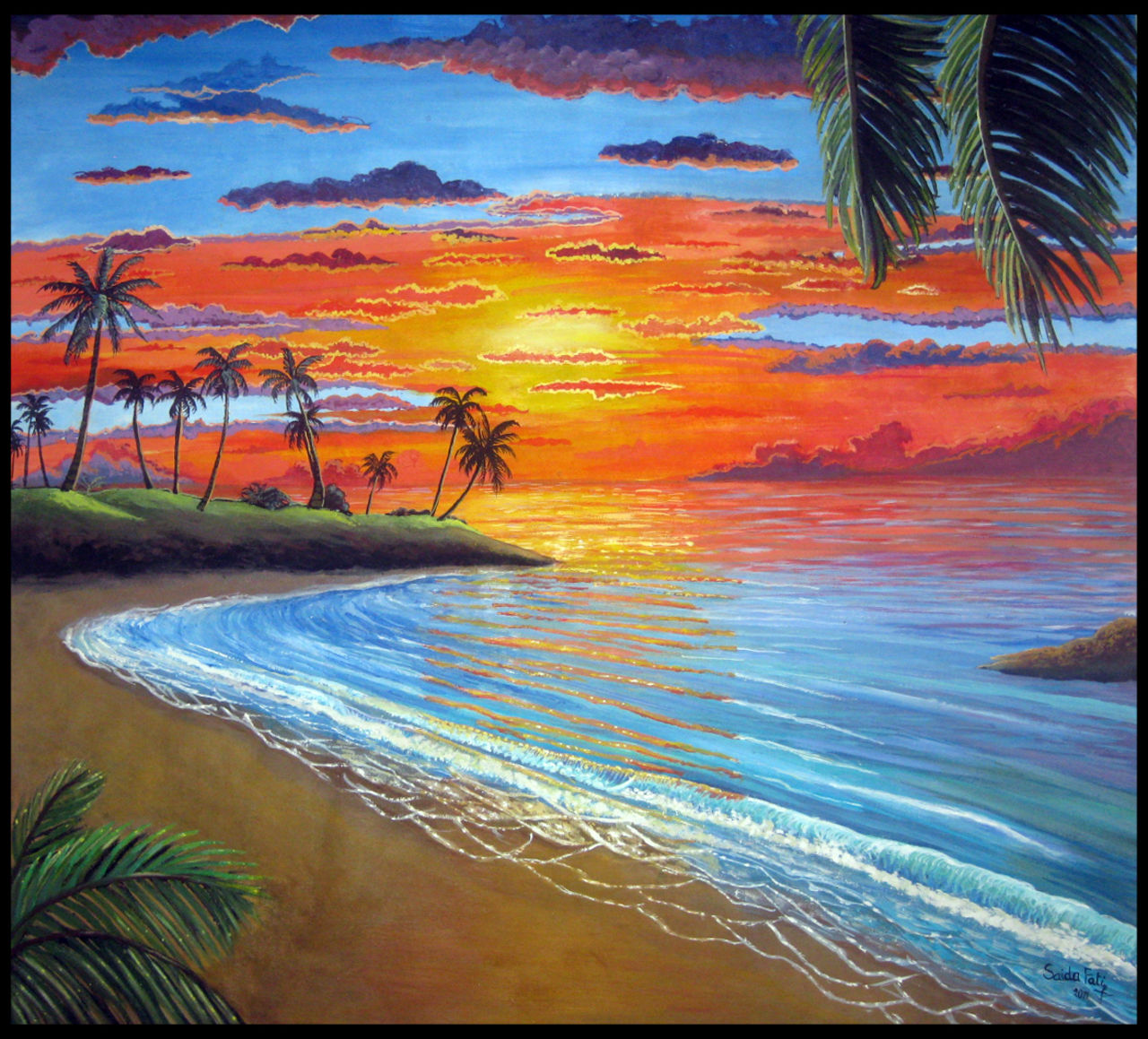 fati saida  سعيدة فاتي painting:sunset  _ coucher de soleil