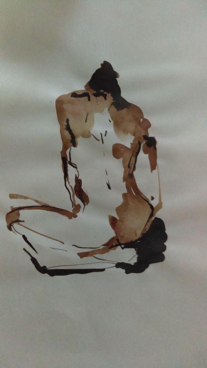 genevieve Bonnet-Cadith nue assise de dos