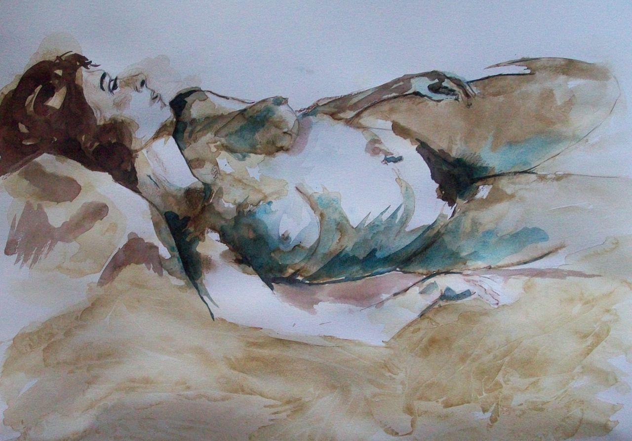 genevieve Bonnet-Cadith Nue couchée broue de noix et café, format raisin 2017