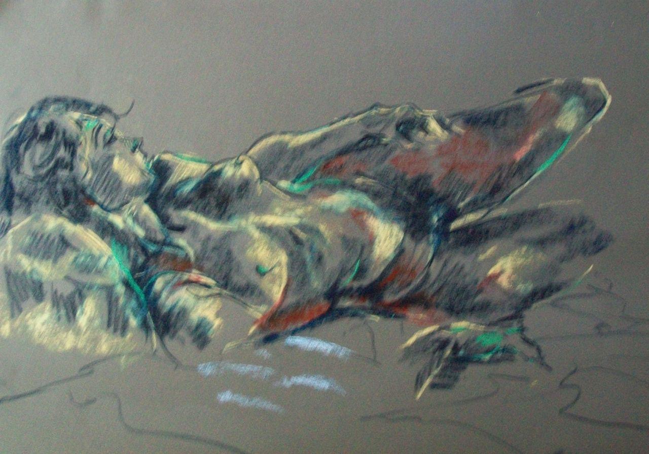genevieve Bonnet-Cadith Nue couchée pastels secs sur papier peint gris 2017
