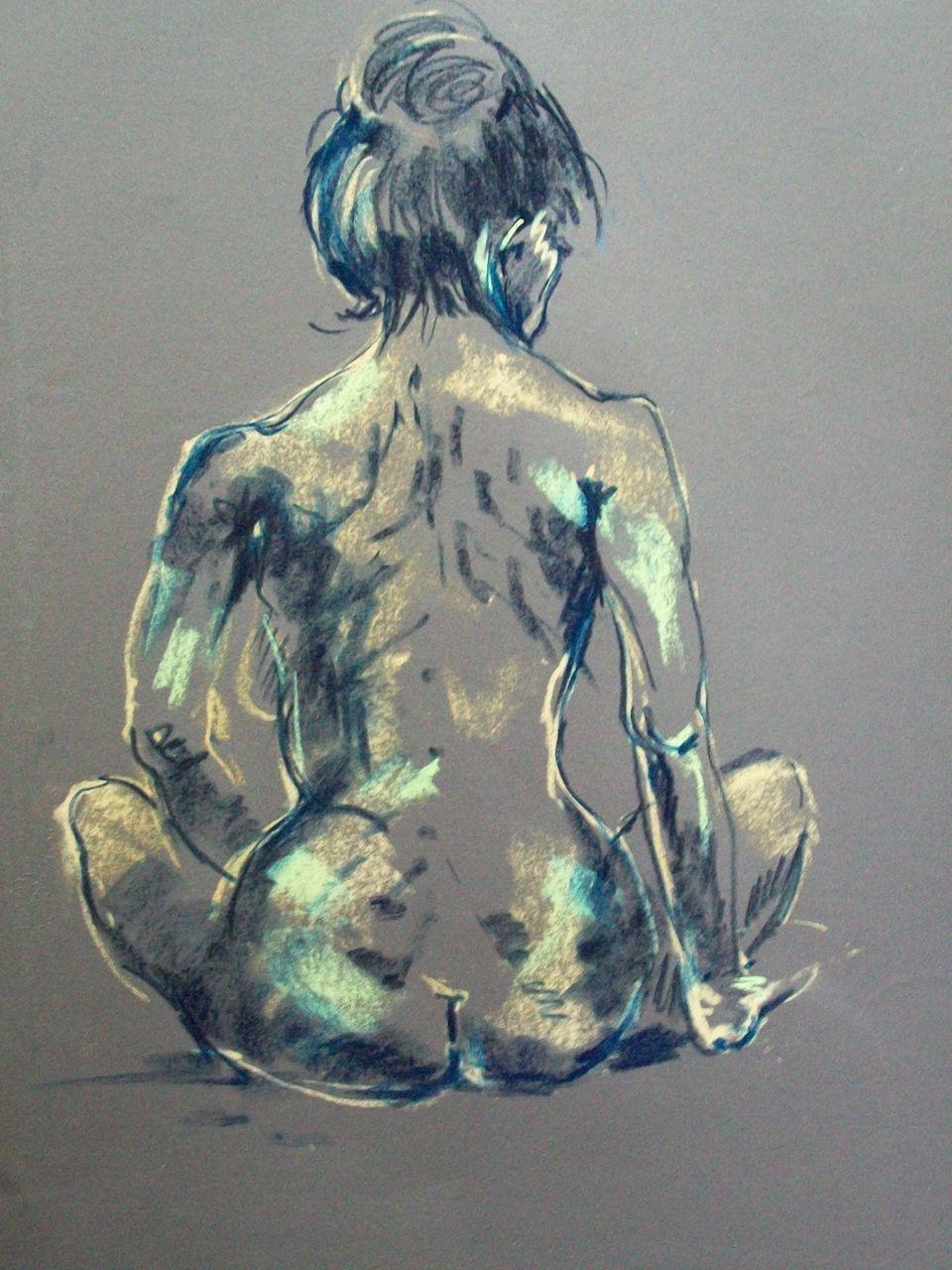genevieve Bonnet-Cadith Nue de dos pastel sec sur papier peint gris 2017