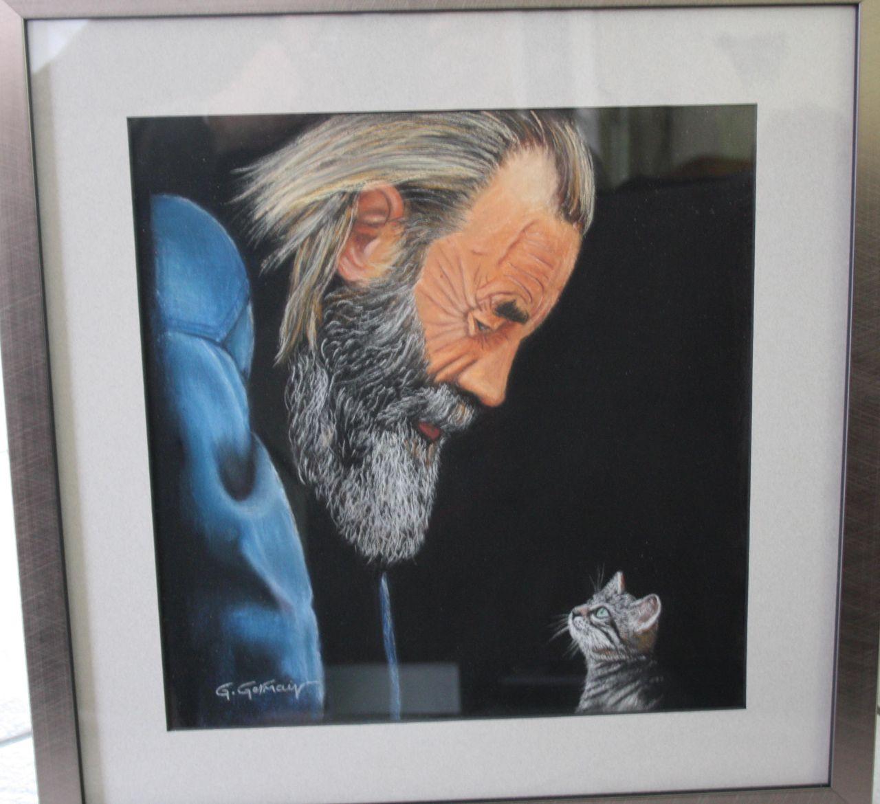 Gérard GERMAIN vieillard et chaton