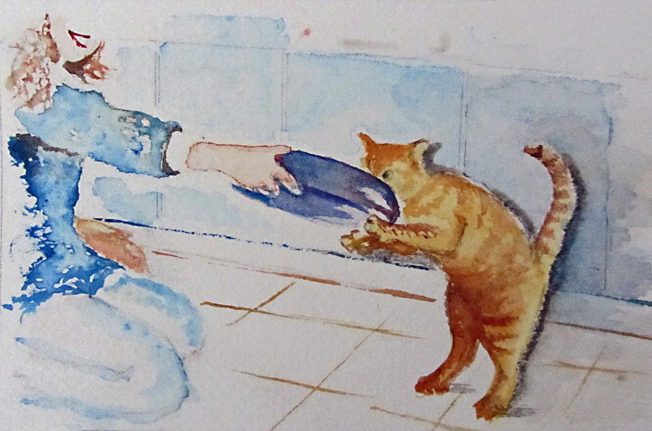 Jackie Ménard Jeune fille au chat