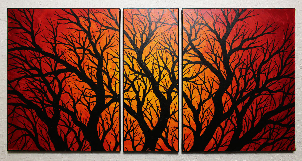 Jonathan-Pradillon Triptyque silhouettes branchages