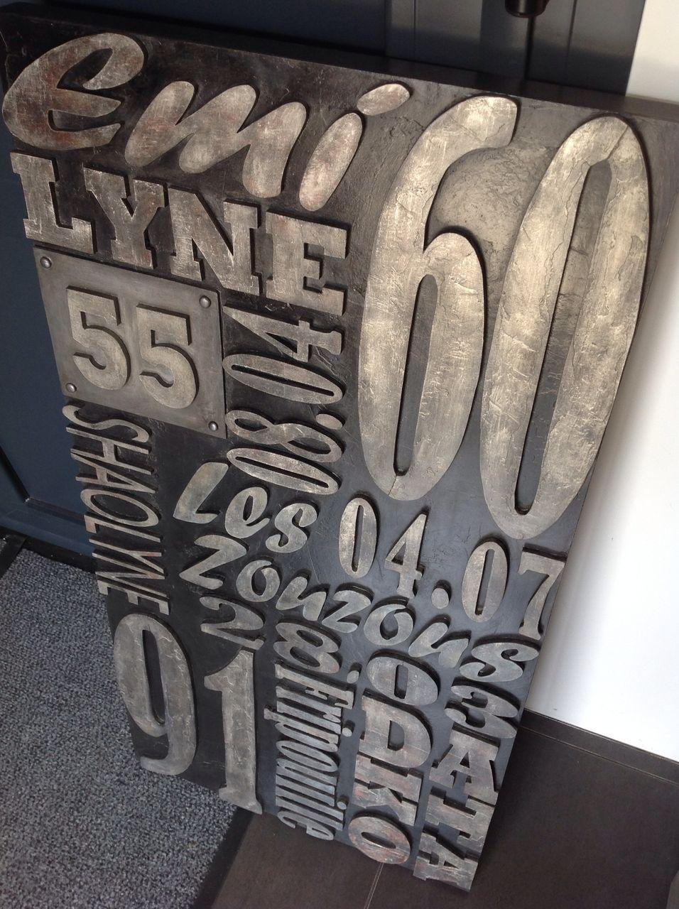 style industriel lettres bois type lettres imprimerie tableau personnaliser d coration mural. Black Bedroom Furniture Sets. Home Design Ideas