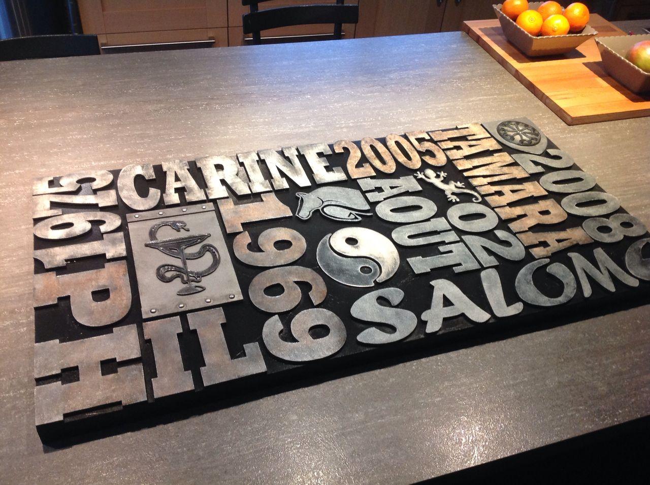 Karine LENOIR style industriel, lettres bois type lettres imprimerie, tableau à personnaliser, décoration murale