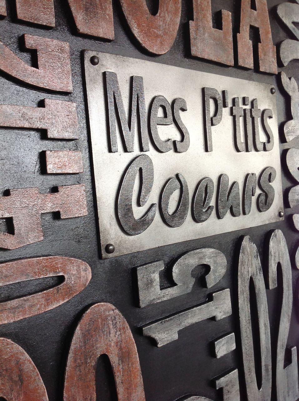 Style Industriel Lettres Bois Type Lettres Imprimerie