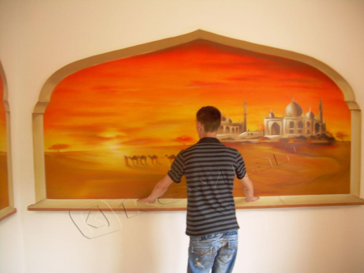 Kevlar Kevgraph Décor trompe l'oeil : couché de soleil graffiti