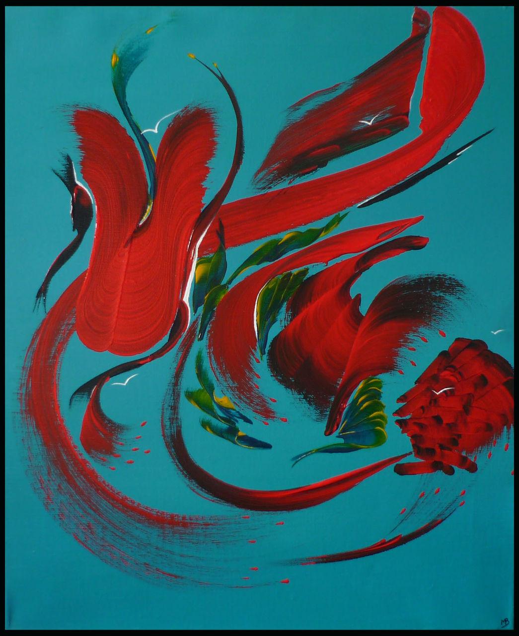 MA PEINTURE SUR TOILE secrets de l'île aux oiseaux | Peinture abstraite | MA PEINTURE SUR TOILE