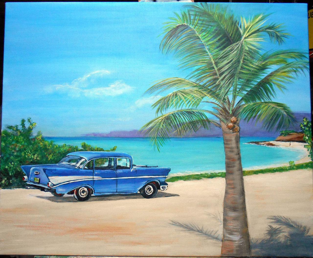 Marie Claire  Ricaux plage voiture  cubaine