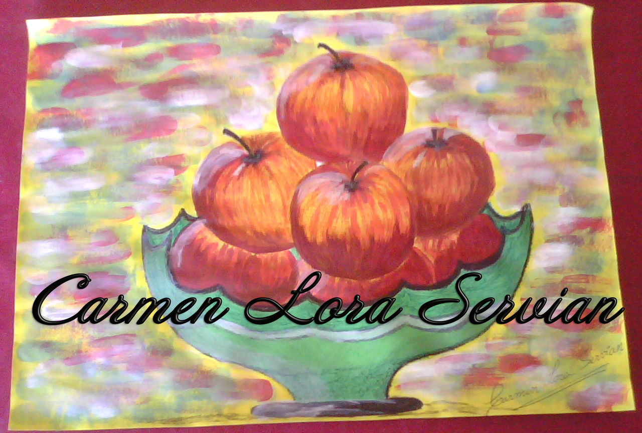 MARY CARMEN LORA SERVIAN frutero con manzanas