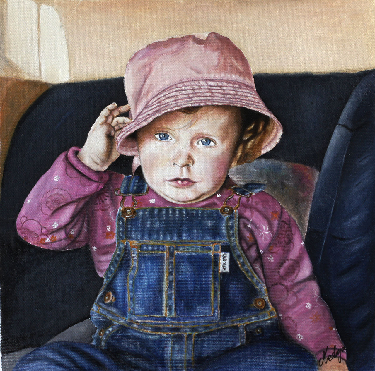 medeya lemdiya  petite fille au chapeau rose