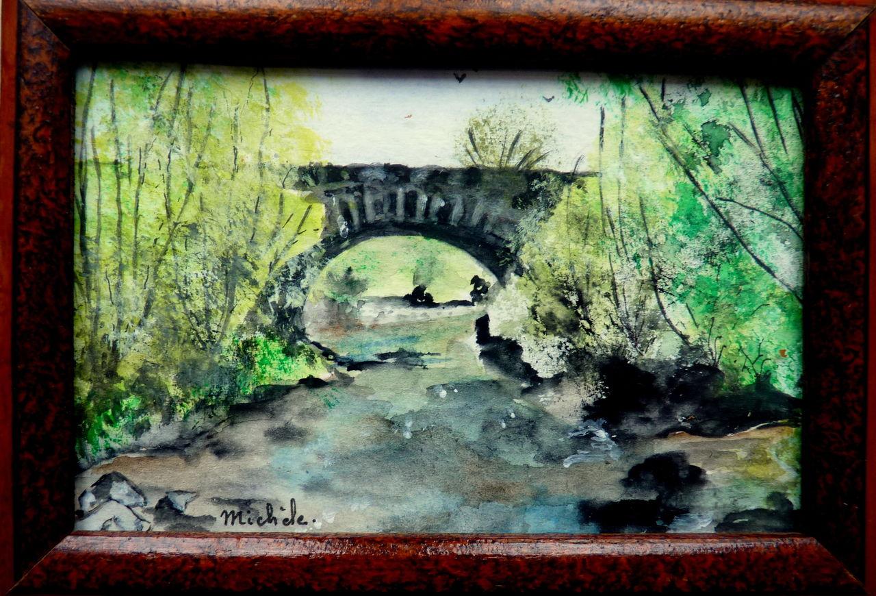 Michele martin De l'eau sous le pont.Mini tableau.13x9cm.