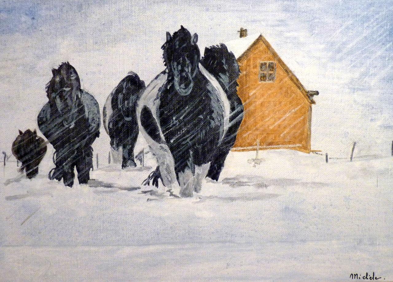 Michele martin Des chevaux dans la neige