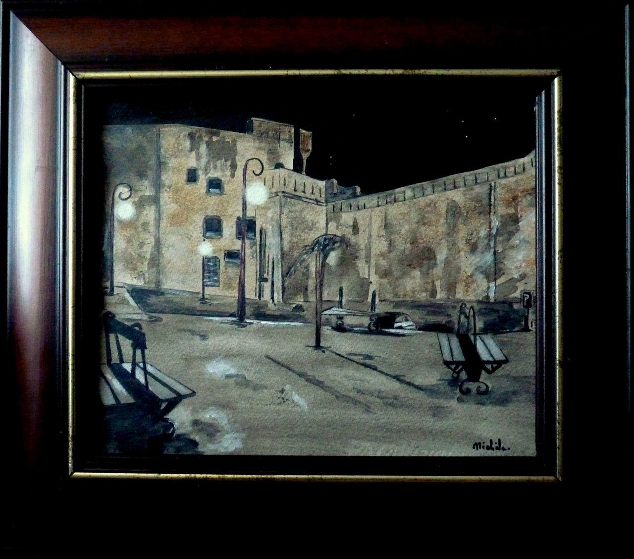 Michele martin Les remparts de Saint-Malo.la nuit.