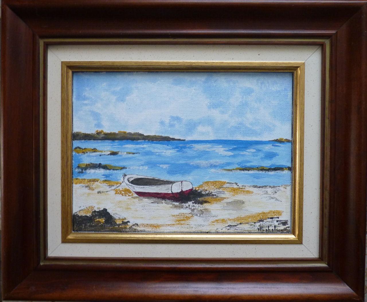 Michele martin tableau 29cm sur 35cm .Une barque sur le sable.