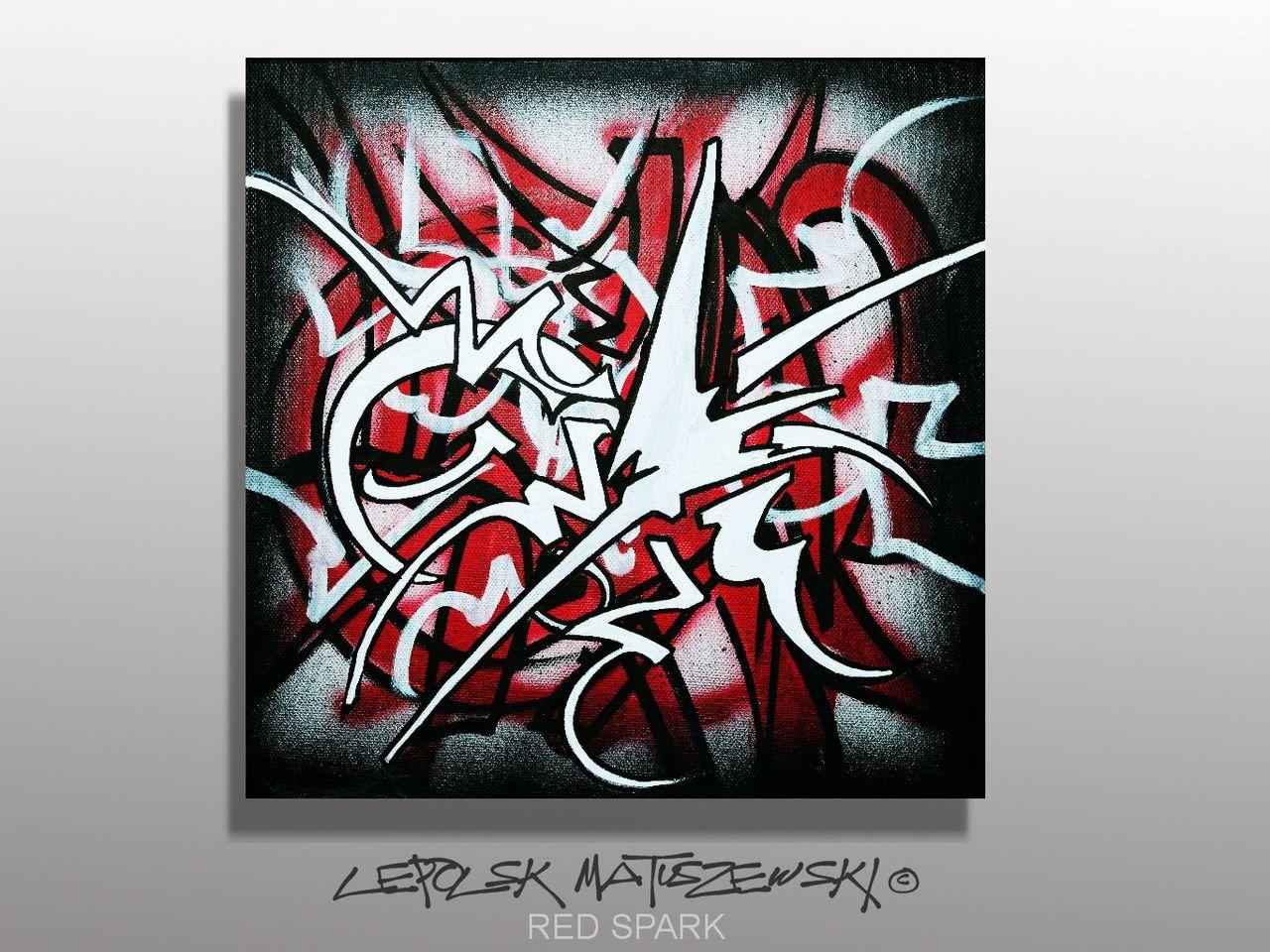 MK  Lepolsk Matuszewski RED SPARK  street art calligraffiti graffiti abstrait