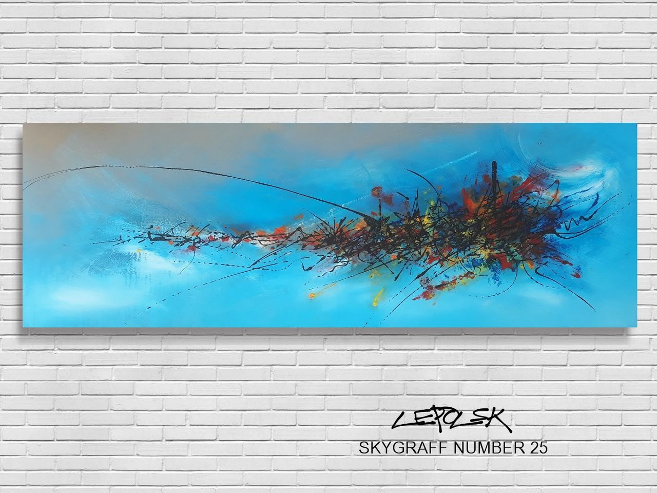MK  Lepolsk Matuszewski skygraff number 25 blue  ( expressionnisme abstrait contemporain )