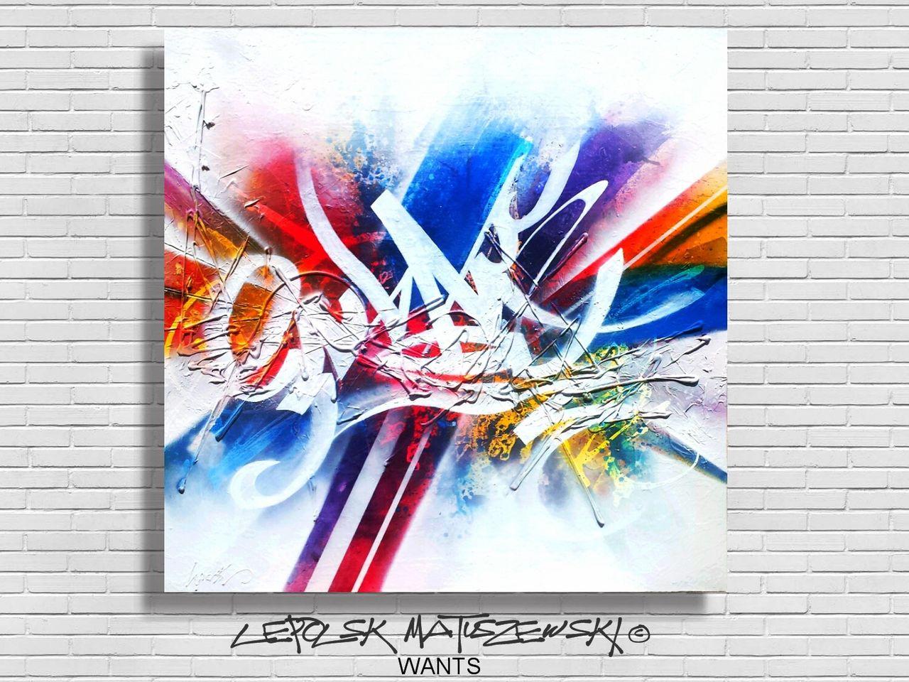 MK  Lepolsk Matuszewski WANTS  ( expressionnisme abstrait contemporain graffiti )