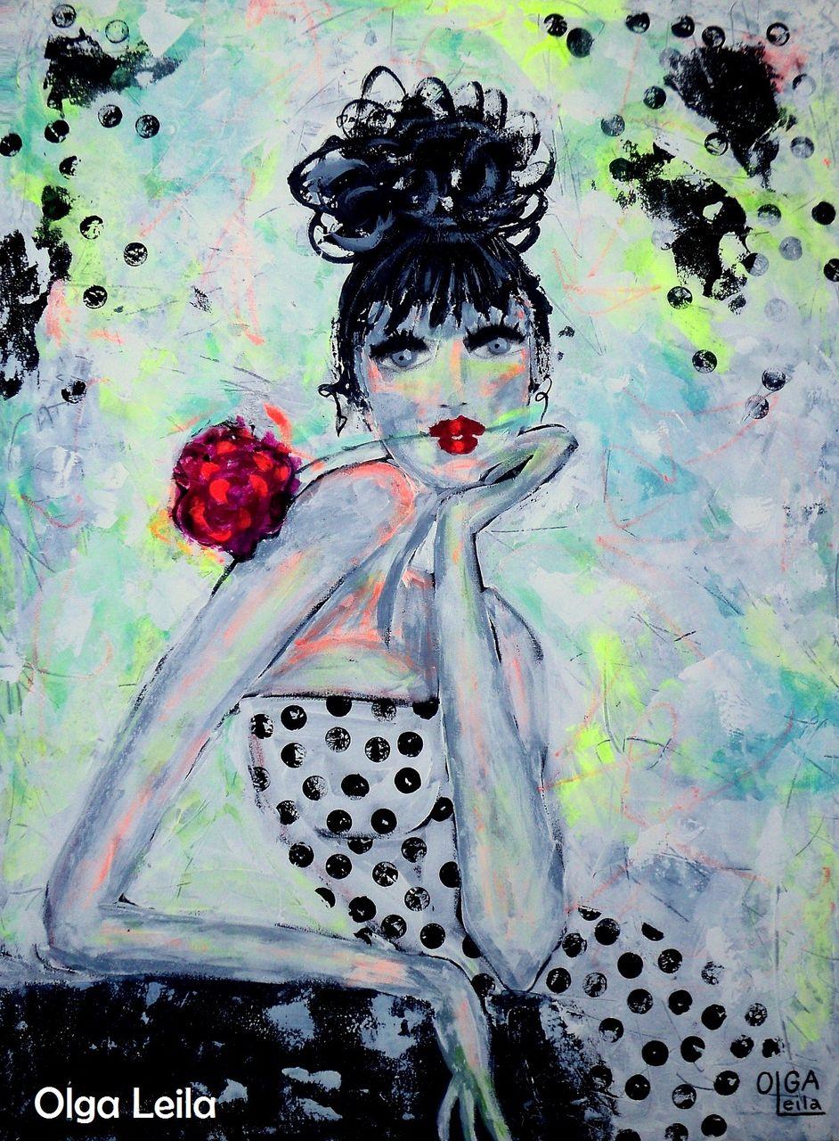 Olga  Leila Femme à la rose