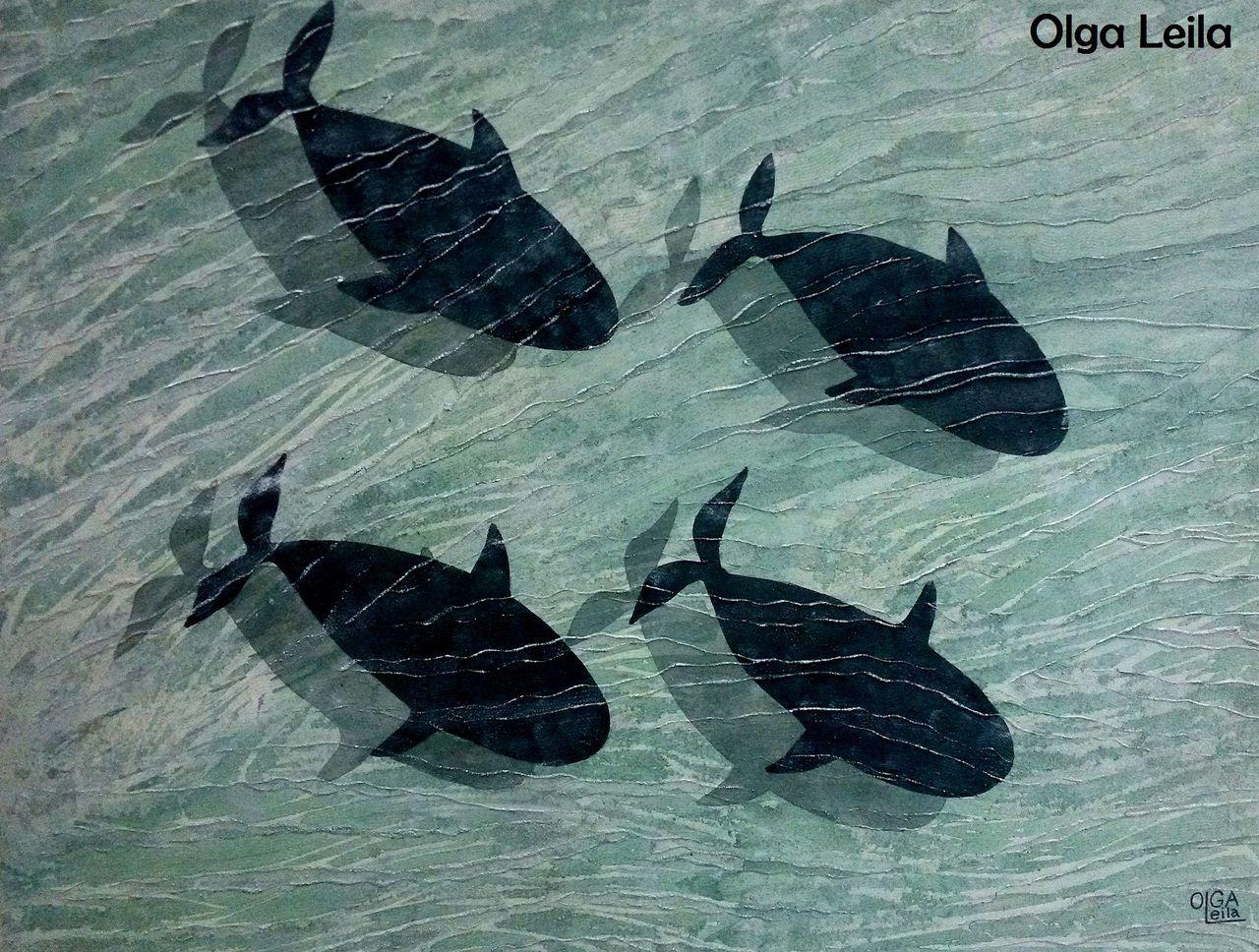 Olga  Leila Les baleines. Peinture acrylique sur toile 150 X 100