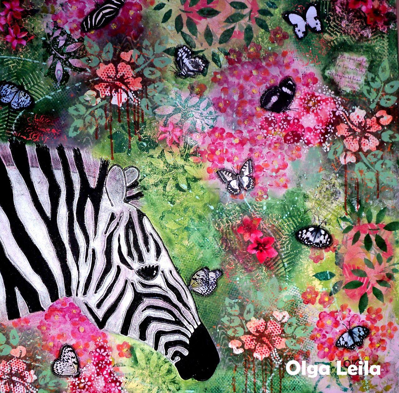 Olga  Leila Le zèbre et les papillons zèbrés