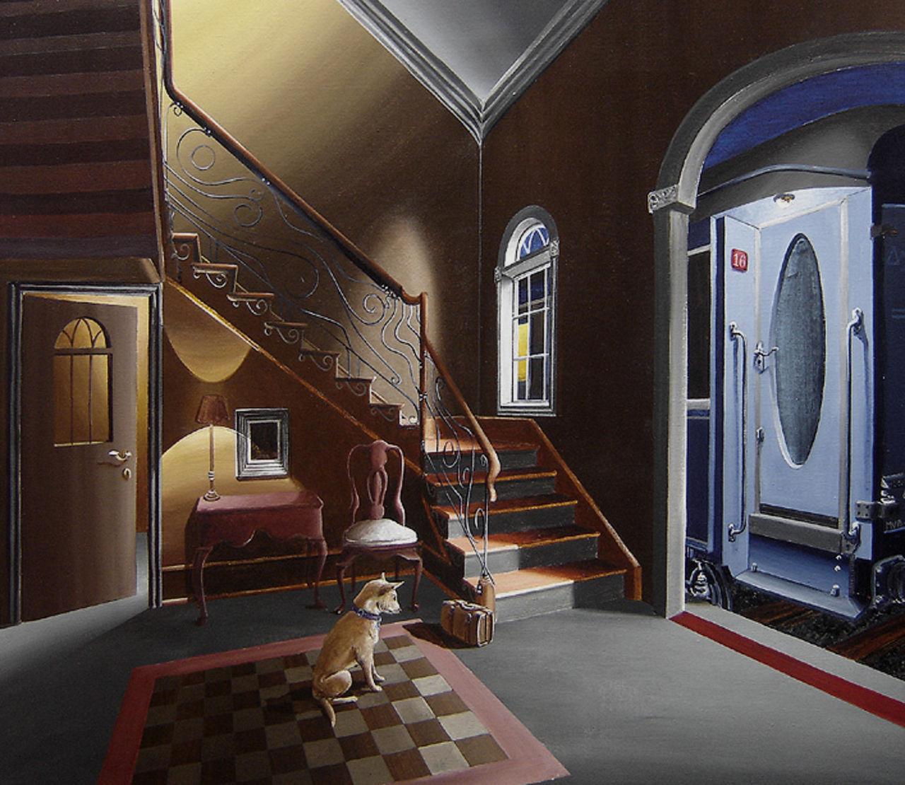 "olivier lamboray "" La Veille du Depart "" 2010 - Belgian Surrealism by Olivier lamboray"