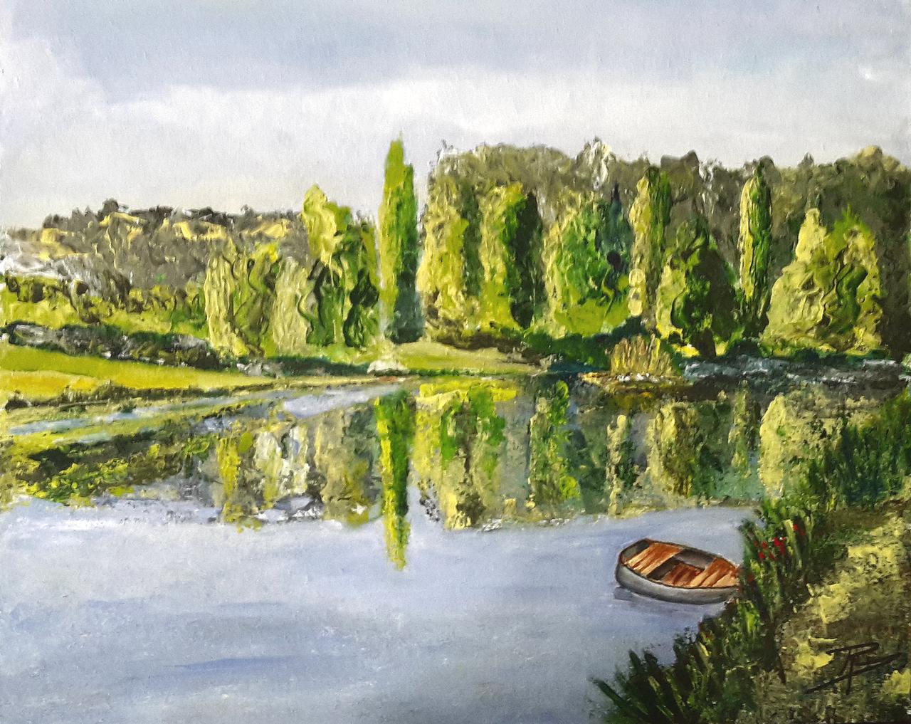 Preg soir de primtemps sur un étang de bretagne