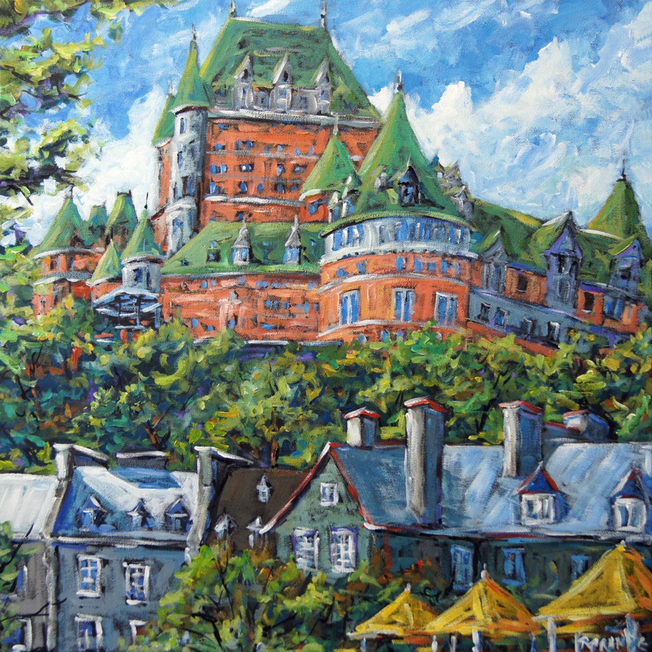 Richard T Pranke  Château Frontenac grande toile à l'acrylique