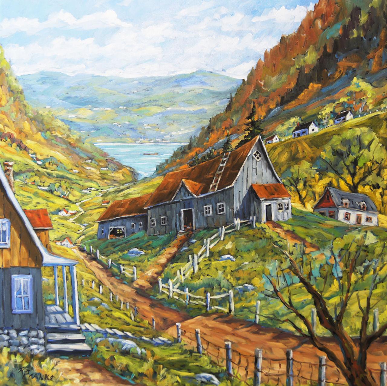 Richard T Pranke Vue de vallée à Charlevoix grande toile à l'huile