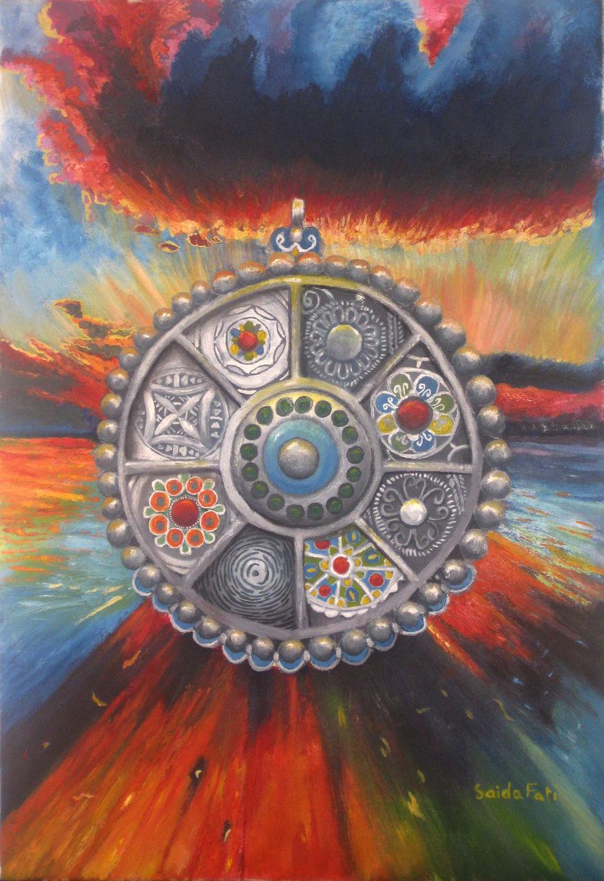 Saida Fati  سعيدة فاتي pendentif amazigh (tableau pour le catalogue )